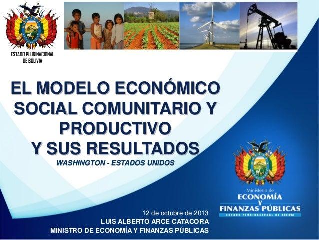 ESTADO PLURINACIONAL DE BOLIVIA  EL MODELO ECONÓMICO SOCIAL COMUNITARIO Y PRODUCTIVO Y SUS RESULTADOS WASHINGTON - ESTADOS...