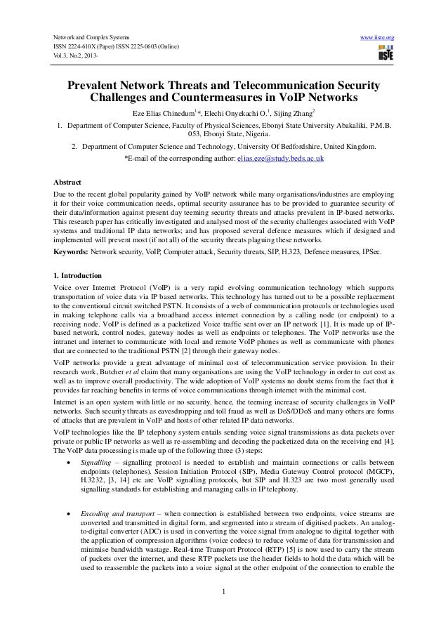1, prevalent network threats and telecommunication security challenges and countermeasures in vo ip networks