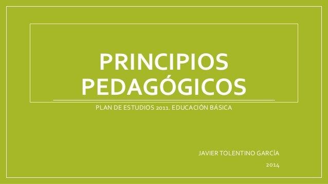 PRINCIPIOS PEDAGÓGICOS PLAN DE ESTUDIOS 2011. EDUCACIÓN BÁSICA JAVIERTOLENTINOGARCÍA 2014