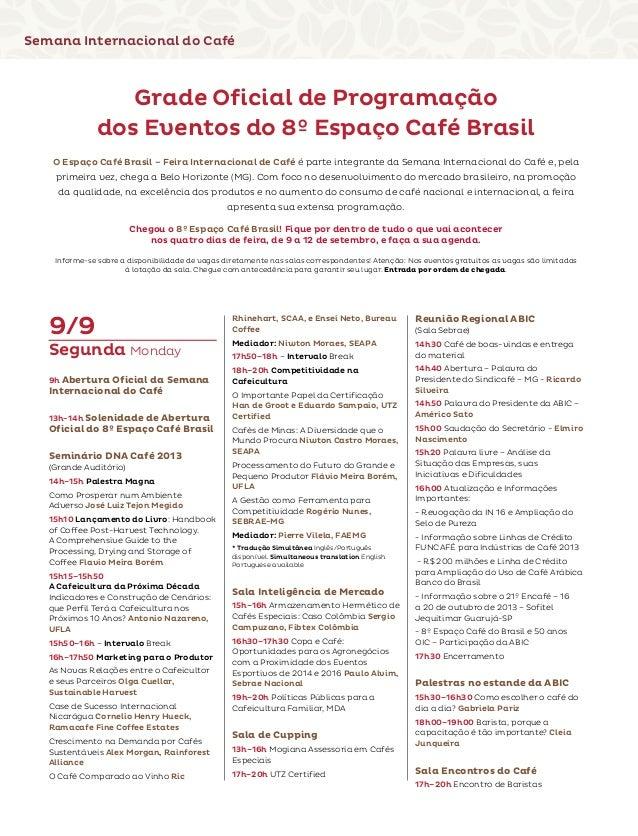 Programação oficial da Semana Internacional do Café