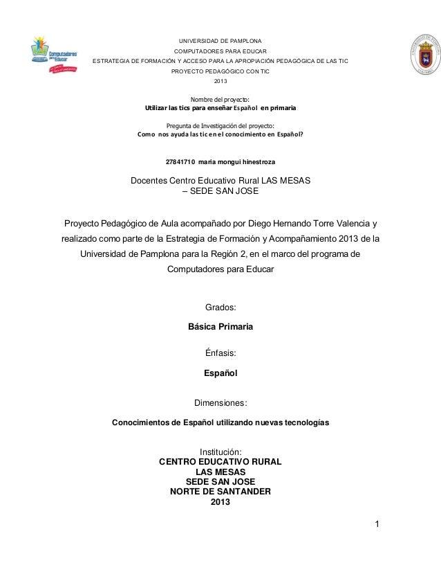 UNIVERSIDAD DE PAMPLONA COMPUTADORES PARA EDUCAR ESTRATEGIA DE FORMACIÓN Y ACCESO PARA LA APROPIACIÓN PEDAGÓGICA DE LAS TI...