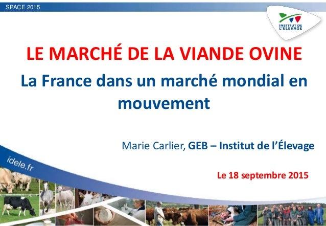 SPACE 2015 LE MARCHÉ DE LA VIANDE OVINE La France dans un marché mondial en mouvement Marie Carlier, GEB – Institut de l'É...