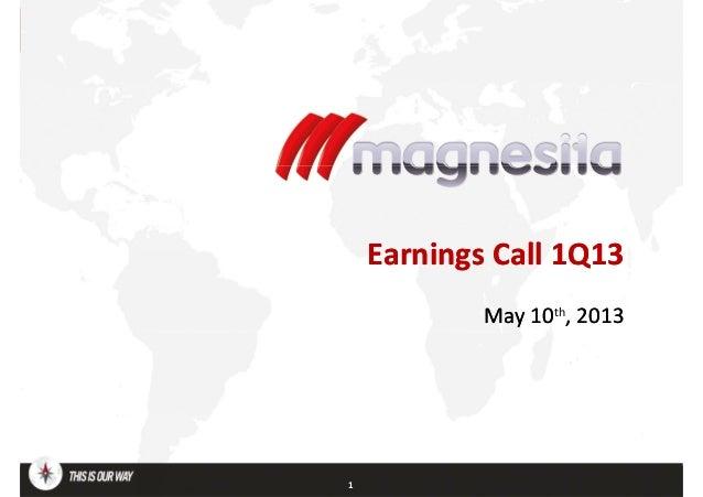 EarningsEarnings CallCall 1Q131Q13May 10May 10th, 2013, 20131