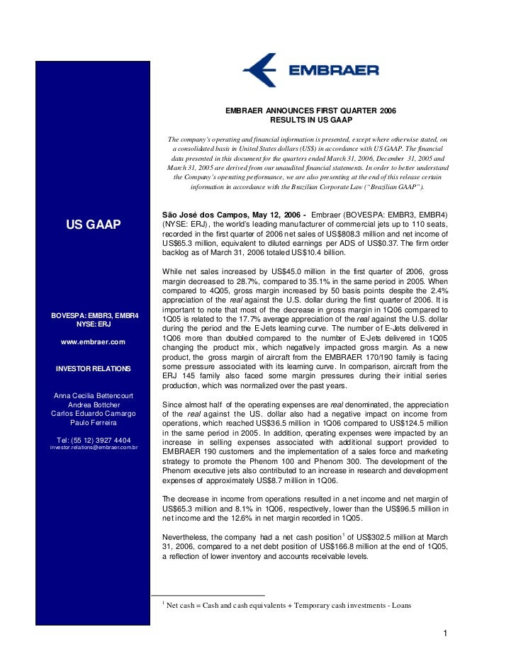 EMBRAER ANNOUNCES FIRST QUARTER 2006                                                                    RESULTS IN US GAAP...