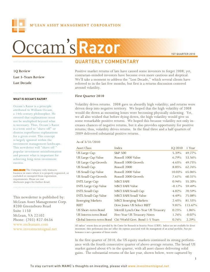 1ST QUARTER 2010  ………………………………                                             QUARTERLY COMMENTARY 1Q Review                 ...