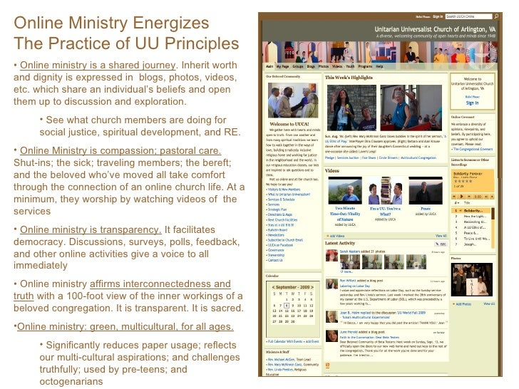 <ul><li>Online Ministry Energizes  The Practice of UU Principles </li></ul><ul><li>Online ministry is a shared journey . I...