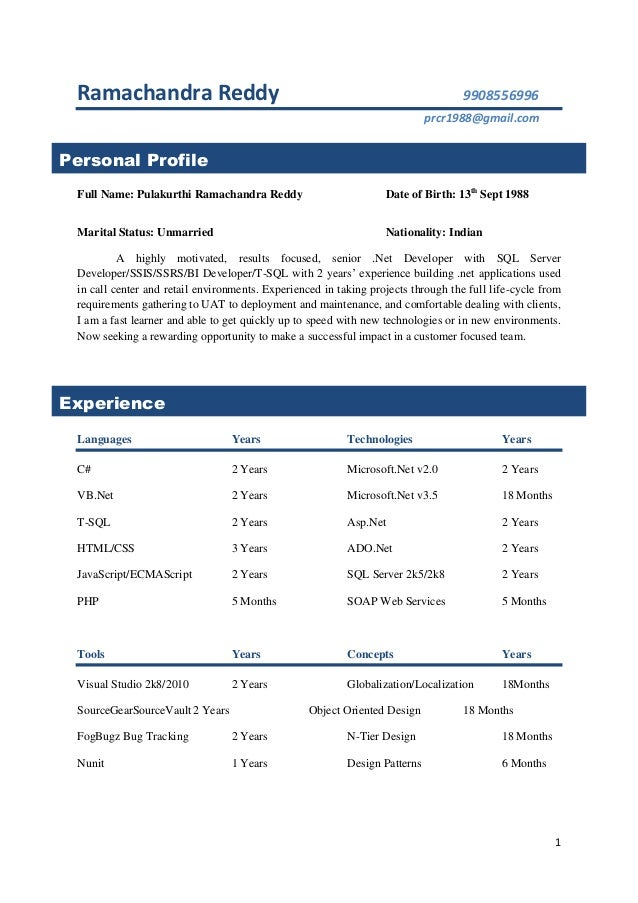Oracle Developer Resume Format