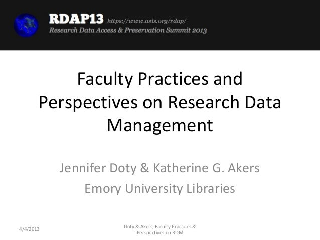 Lightning Talk, Doty: Faculty Practices and Perspectives on Research Data Management