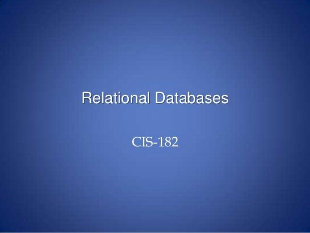 1 Relational Databases