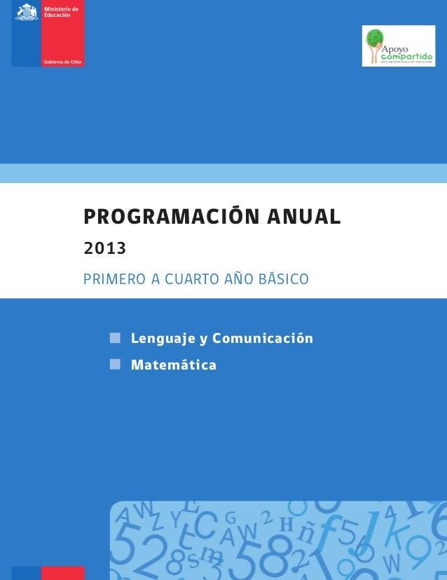 PROGRAMACIÓN ANUAL 2013 PRIMERO A CUARTO AÑO BÁSICO Lenguaje y Comunicación Matemática Portada Program anual LenMatem 2013...