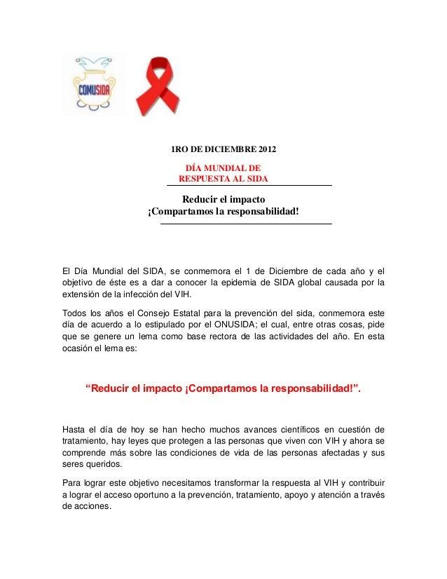 1RO DE DICIEMBRE 2012                               DÍA MUNDIAL DE                              RESPUESTA AL SIDA         ...