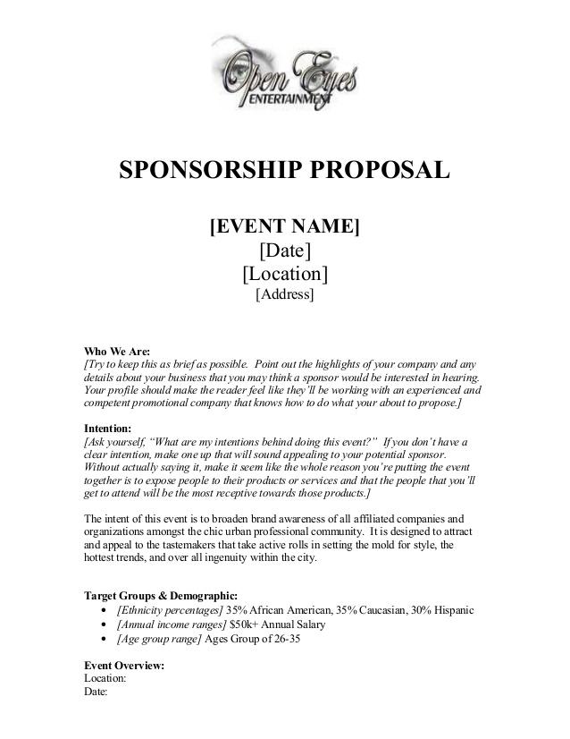 28 Sponsorship Proposal Template Free Sponsorship Proposal