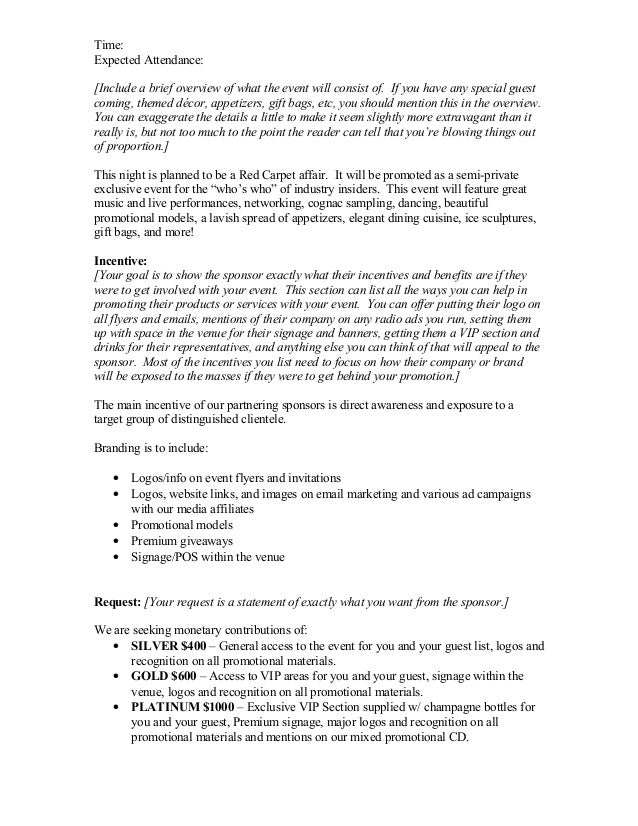Doc732894 Sponsorship Proposal Letter Sponsorship Proposal – Writing a Sponsorship Letter for an Event