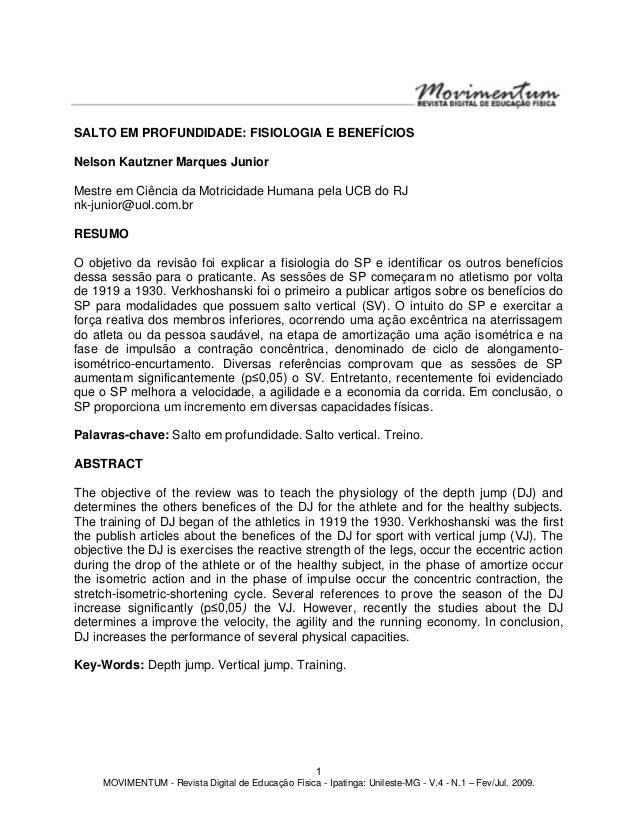 1 MOVIMENTUM - Revista Digital de Educação Física - Ipatinga: Unileste-MG - V.4 - N.1 – Fev/Jul. 2009. SALTO EM PROFUNDIDA...