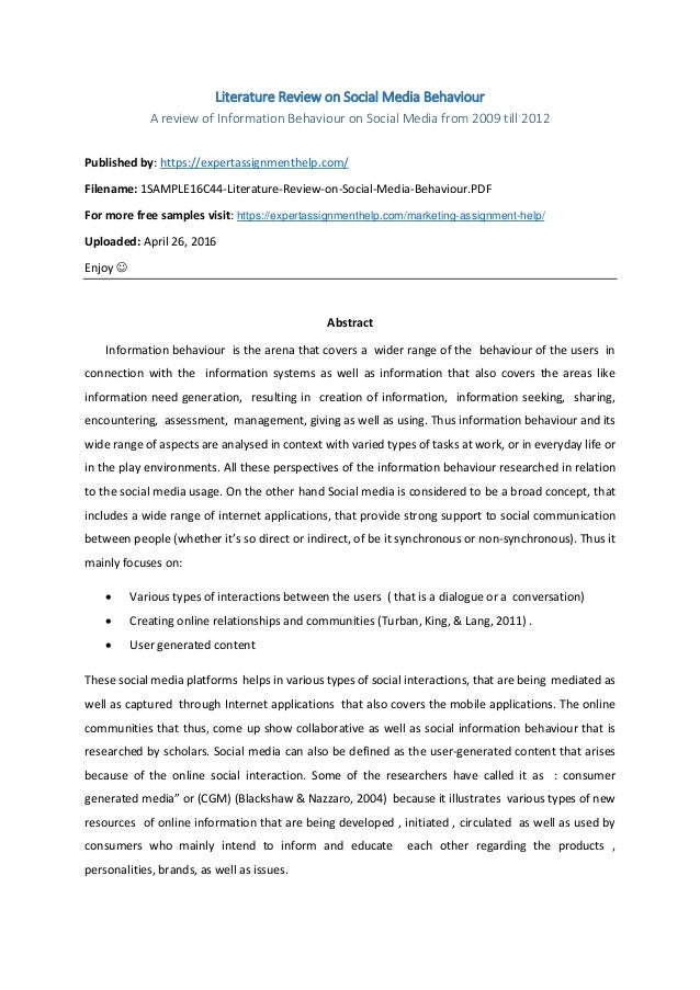 Literature review on helping behaviour