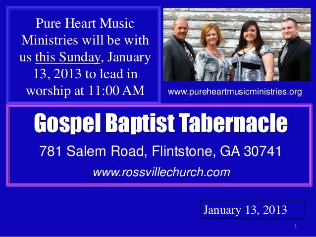 Pure Heart MusicMinistries will be withus this Sunday, January  13, 2013 to lead in worship at 11:00 AM      www.pureheart...
