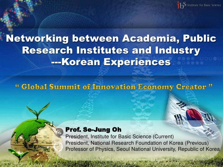 Networking between Academia, Public  Research Institutes and Industry       ---Korean Experiences         Prof. Se-Jung Oh...