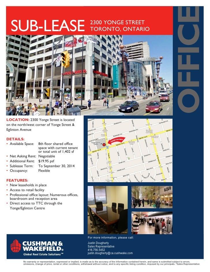 oFFice   SUB-lEASE                                                                2300 YONGE STREET                       ...