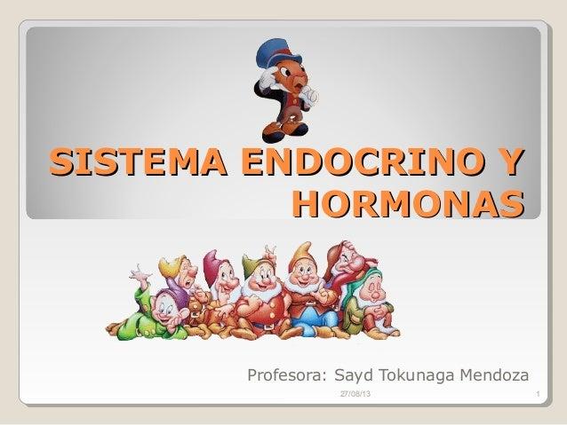 SISTEMA ENDOCRINO YSISTEMA ENDOCRINO Y HORMONASHORMONAS Profesora: Sayd Tokunaga Mendoza 27/08/13 1
