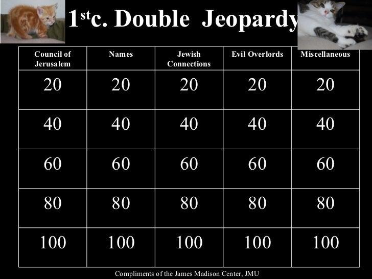 1st Century Church Double Jeopardy