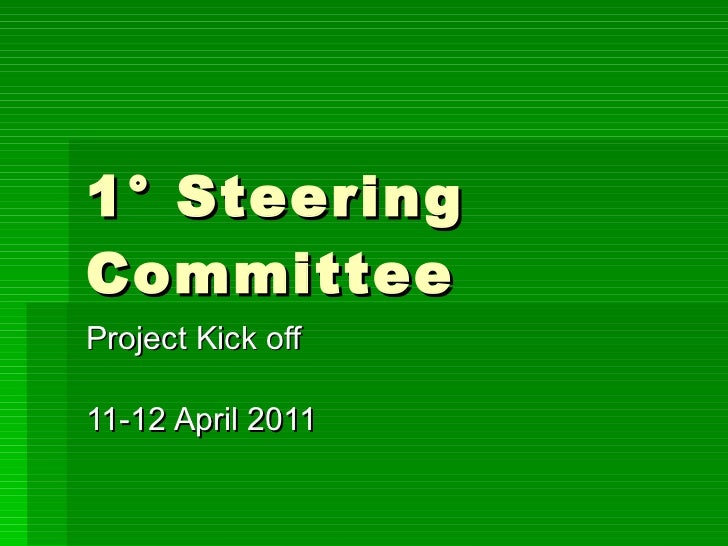 1° Steering Committee Project Kick off 11-12 April 2011