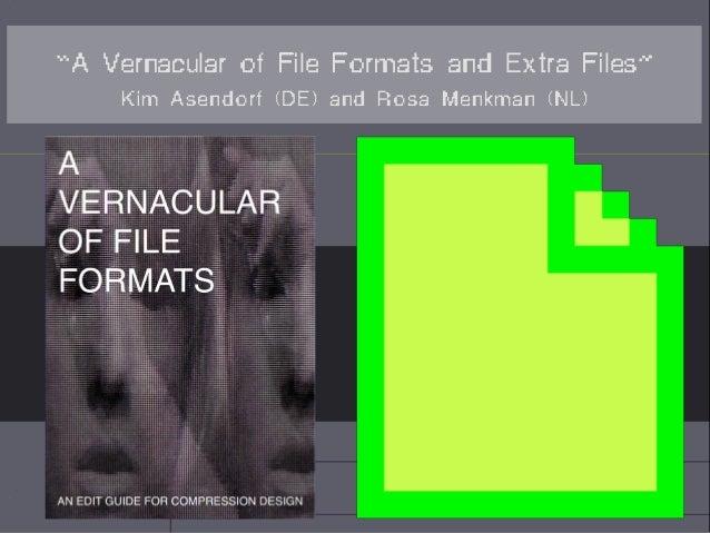 """A Vernacular of File Formats and Extra Files"" Kim Asendorf (DE) and Rosa Menkman (NL)"