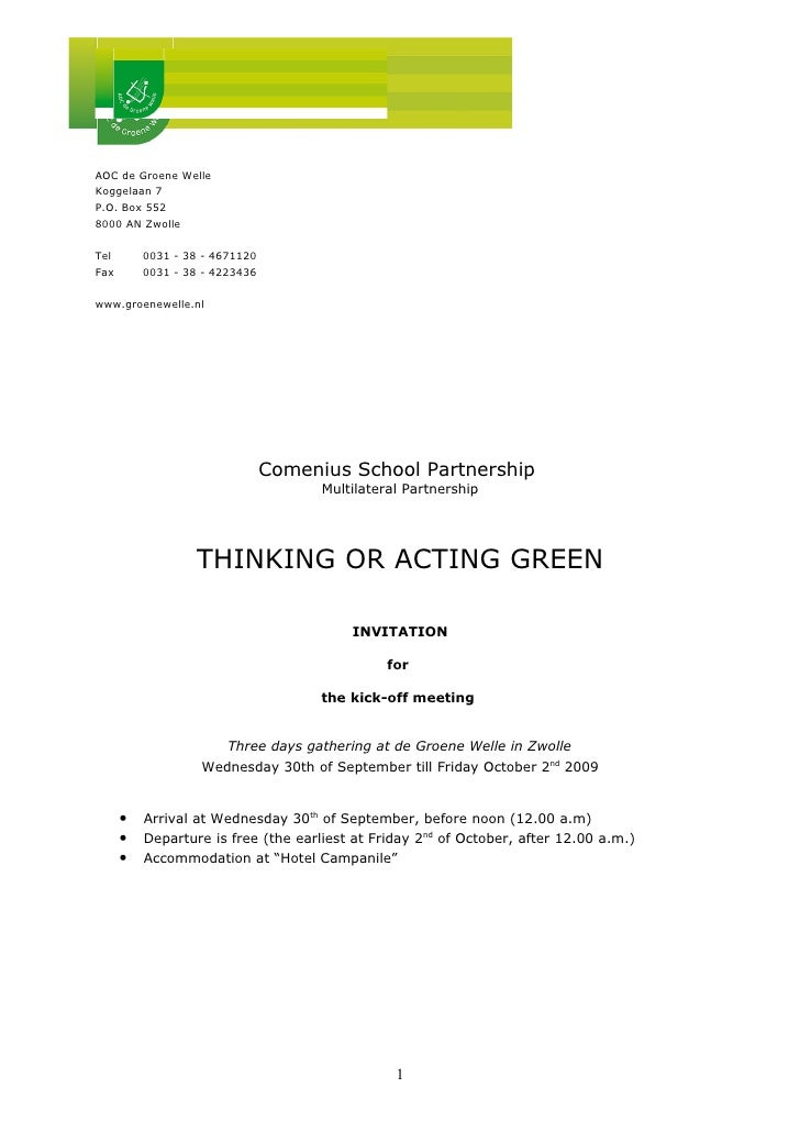 1st Meeting Comenius Project Thinking Or Acting Green September 09, Invitation And Agenda