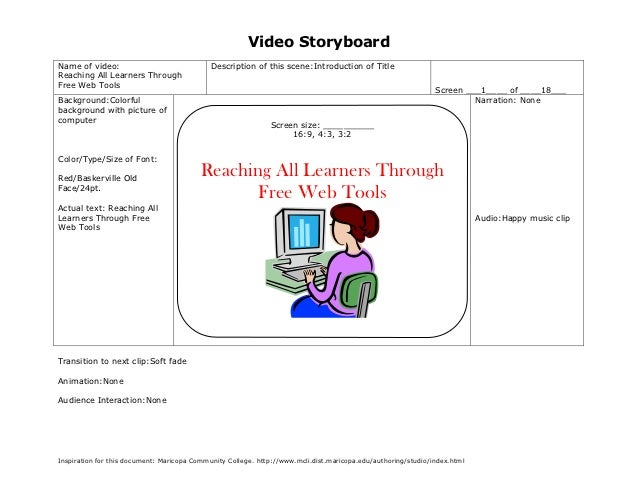 Video StoryboardName of video:                               Description of this scene:Introduction of TitleReaching All L...
