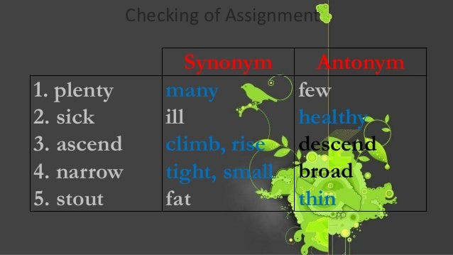 Synonyms for assignment