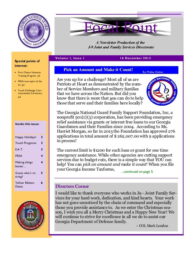 Focal Point A Newsletter Production of the J-9 Joint and Family Services Directorate Volume 1, Issue 1  Special points of ...