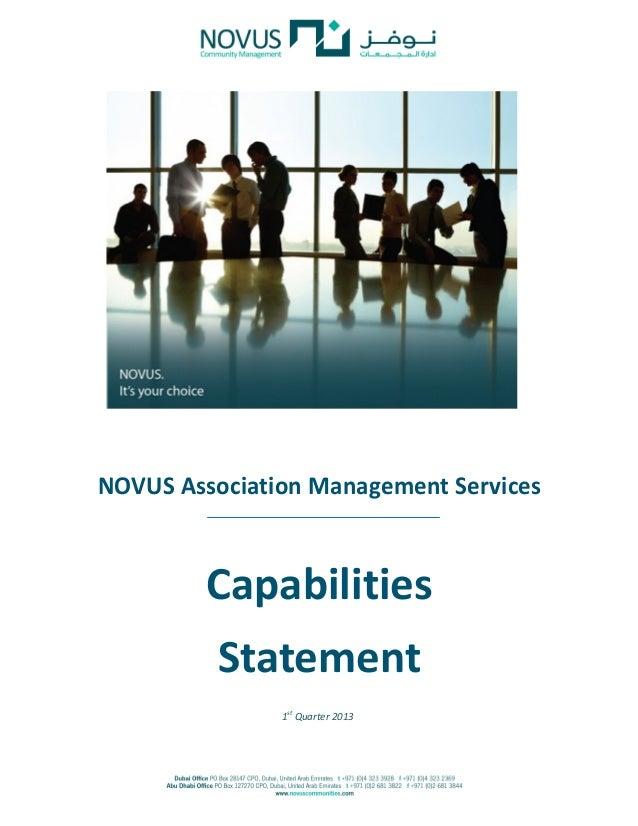 1st quarter 2013 novus capabilities statement