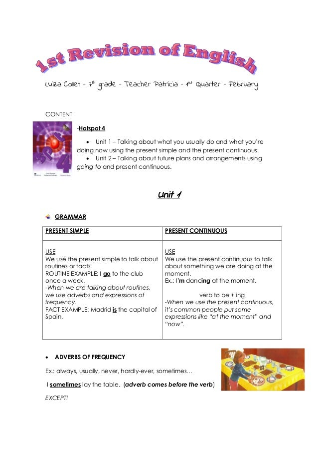 Luiza Collet – 7th grade – Teacher Patrícia – 1st Quarter – February  CONTENT -Hotspot 4  Unit 1 – Talking about what you...
