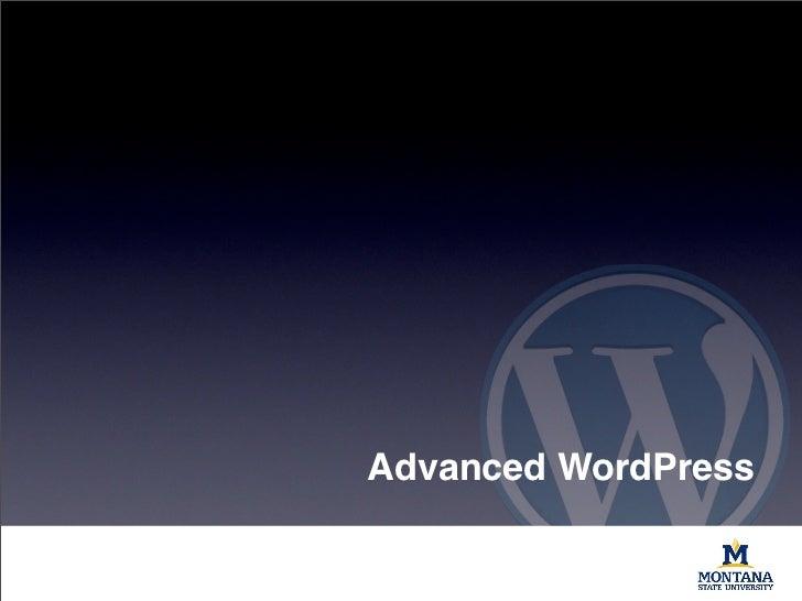 Advanced WordPress: Session I