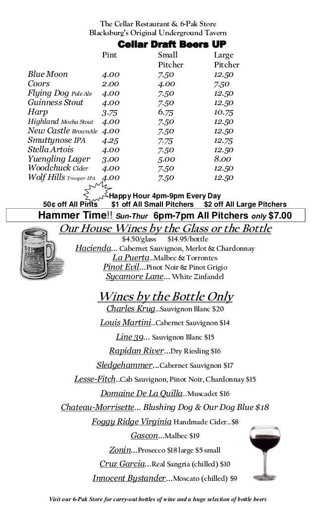 The Cellar Restaurant & 6-Pak Store                      Blacksburg's Original Underground Tavern                         ...
