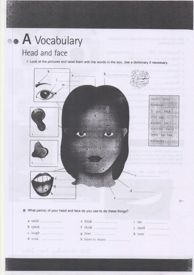 "UNIT 15. Vocabulanj ""  63  Now test yourseti Look at thèse pictures. Can you  identrfy the parts of the head and face? Wri..."