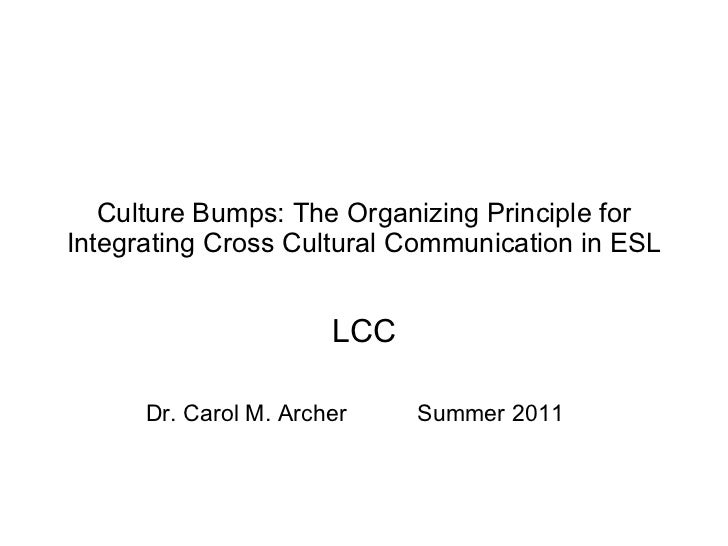 Culture Bumps: The Organizing Principle for Integrating Cross Cultural Communication in ESL LCC Dr. Carol M. Archer  Summe...