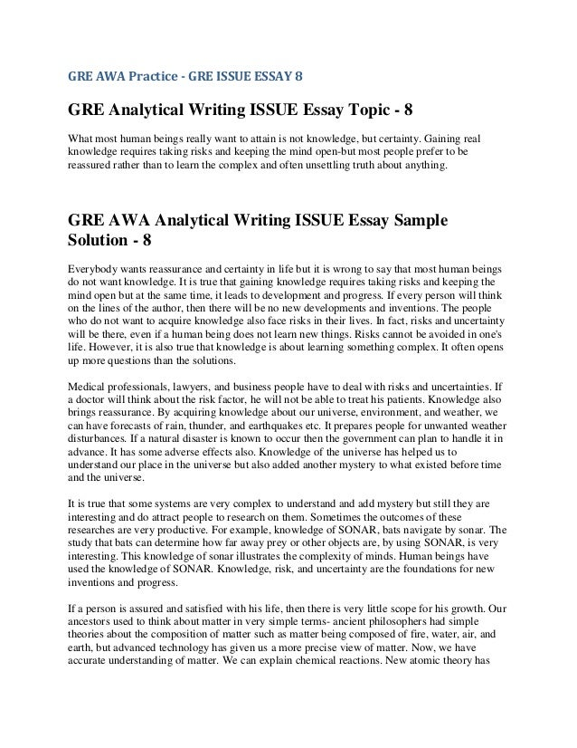 sample gre issue essays Gre master laura aitcheson from shares a sample issue essay that would earn a 6 out of 6 from the gre essay graders see the.