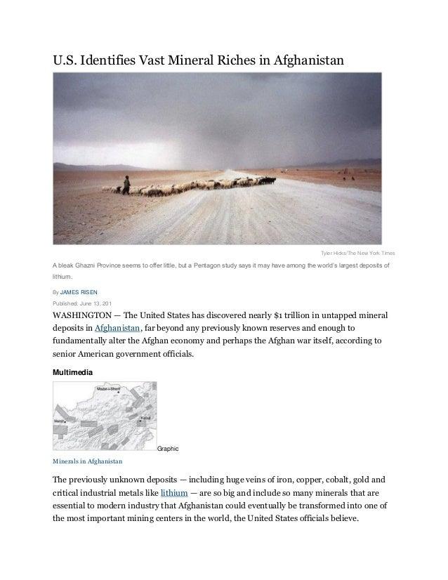 U.S. Identifies Vast Mineral Riches in Afghanistan                                                                        ...
