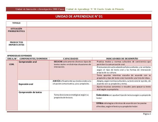 Unidad de Innovación e Investigación DRE Cusco Unidad de Aprendizaje N° 01 Cuarto Grado de Primaria  Página 1  UNIDAD DE A...