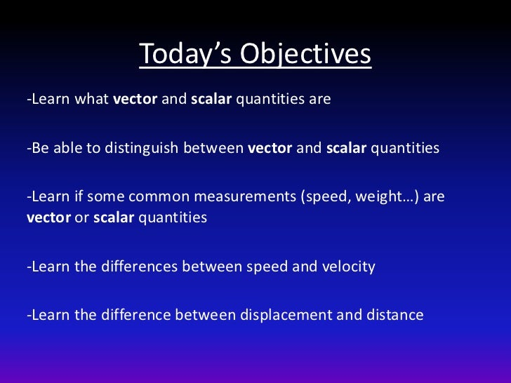 Today's Objectives-Learn what vector and scalar quantities are-Be able to distinguish between vector and scalar quantities...