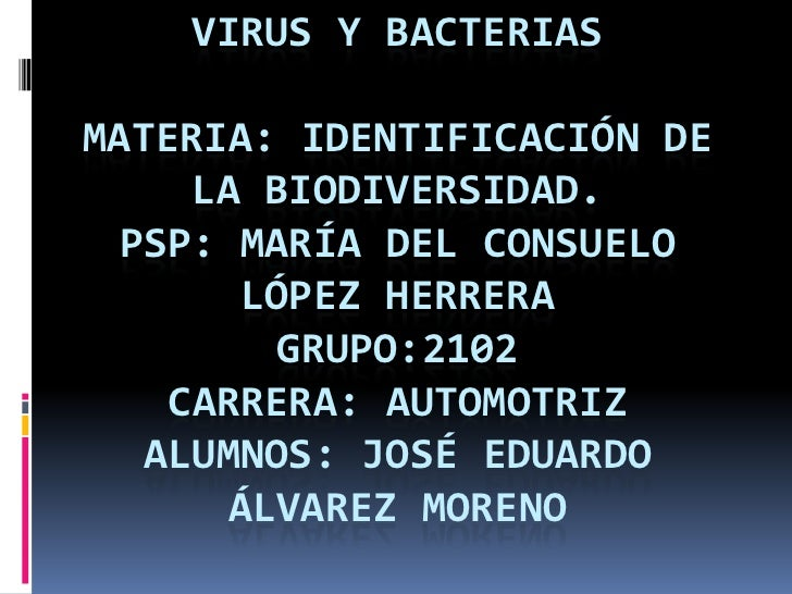 Virus y bacteriasmateria: identificación de la biodiversidad.PSP: María del consuelo López herreragrupo:2102Carrera: autom...