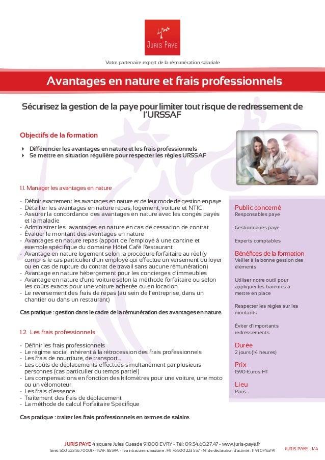 Votre partenaire expert de la rémunération salariale  Avantages en nature et frais professionnels  Sécurisez la gestion de...