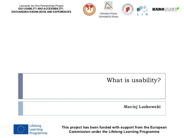 Leonardo da Vinci Partnerships Project GUI USABILITY AND ACCESSIBILITY: EXCHANGING KNOWLEDGE AND EXPERIENCES  What is usab...