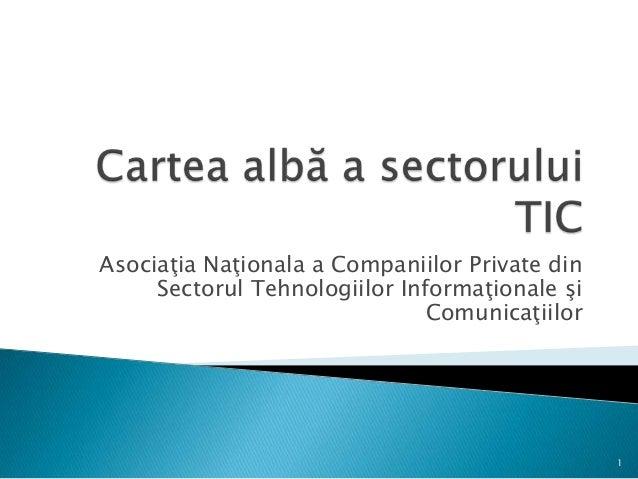 Asociaţia Naţionala a Companiilor Private dinSectorul Tehnologiilor Informaţionale şiComunicaţiilor1