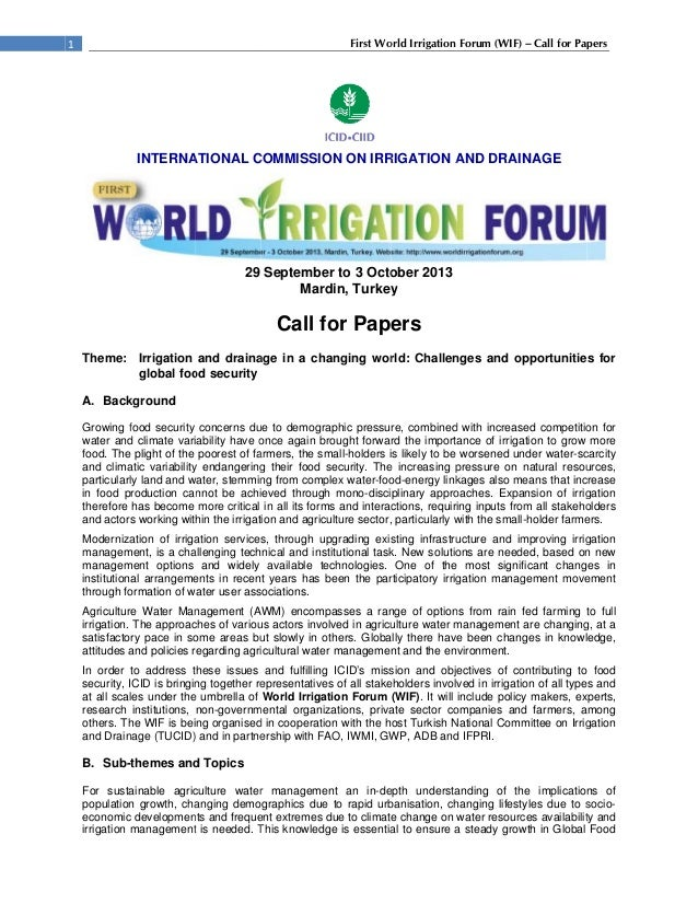 1st World Irrigation Forum Call For Papers