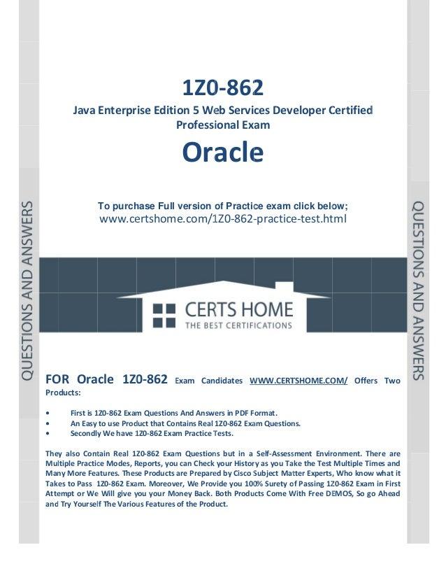 P a g e  1             1Z0 2 0‐862  JavaEnterpriseEditi ion5We ebServicesDeve eloperC Certified d Pr...