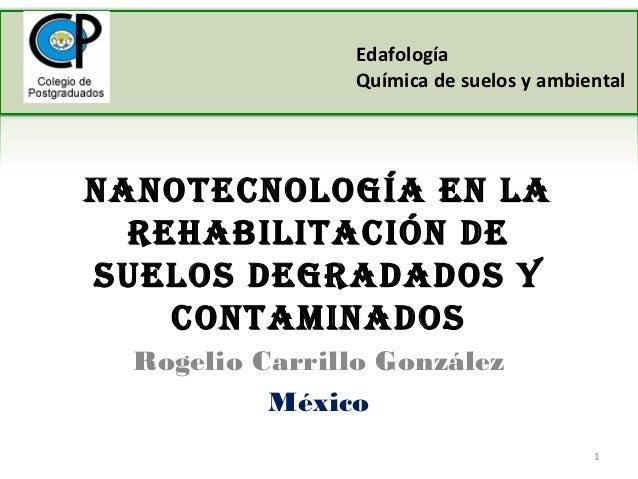 Edafología                 Química de suelos y ambientalNaNotecNología eN la  rehabilitacióN desuelos degradados y    coNt...