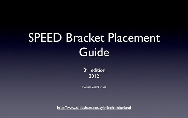 SPEED Bracket Placement        Guide                    3 rd edition                        2012                   ©Sylvai...