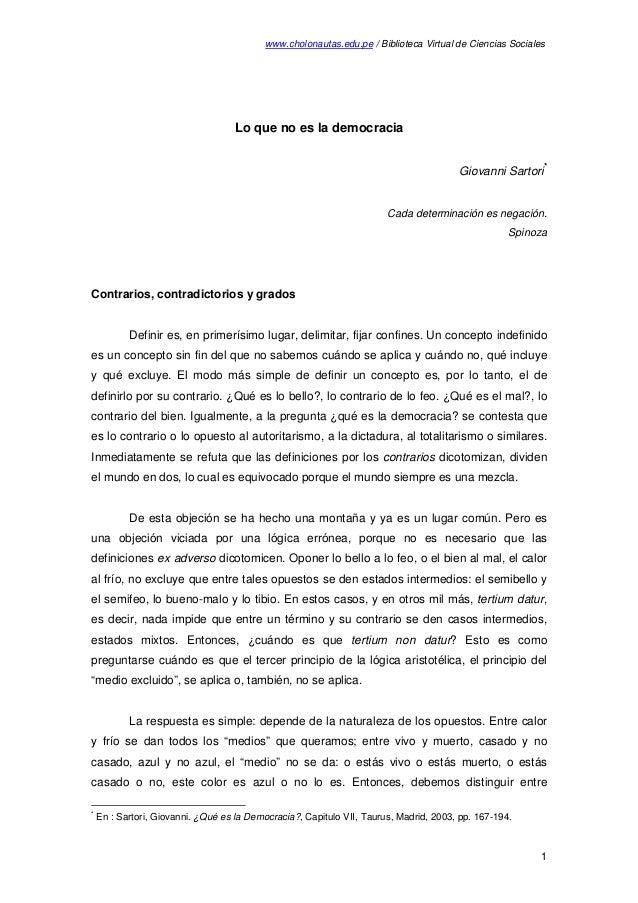 www.cholonautas.edu.pe / Biblioteca Virtual de Ciencias Sociales Lo que no es la democracia Giovanni Sartori * Cada determ...