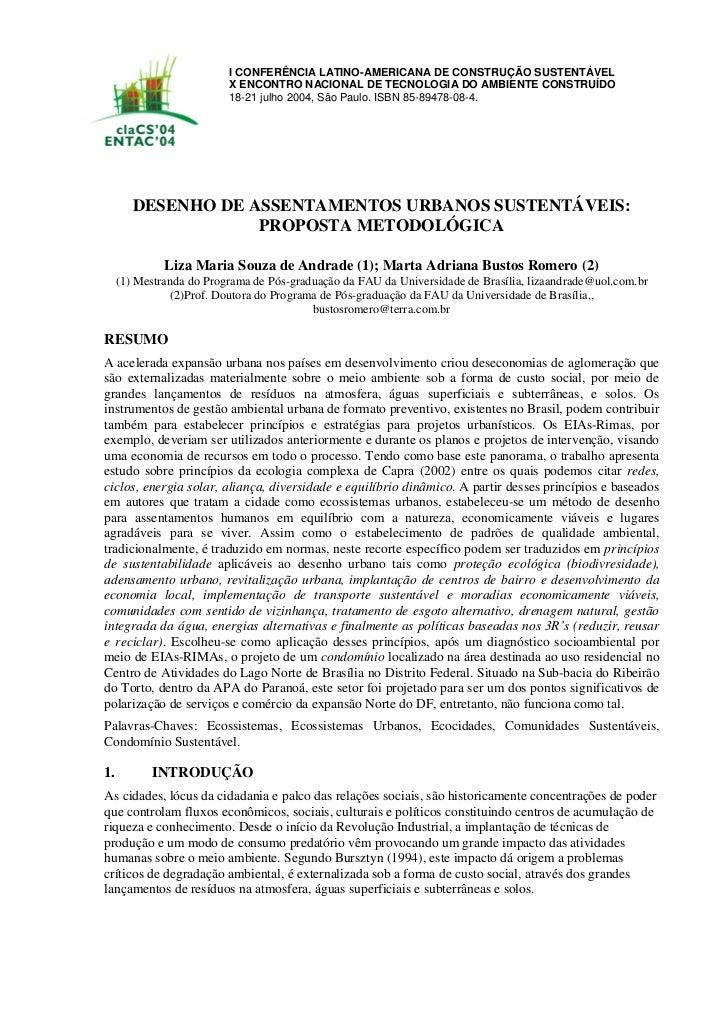 DESENHO DE ASSENTAMENTOS URBANOS SUSTENTÁVEIS: PROPOSTA METODOLÓGICA